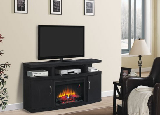 59.9 inch CANTILEVER MEDIA MANTEL ENGINEERED EMBOSSING OAK ELECTRIC FIREPLACE - 26MM5508-NB04