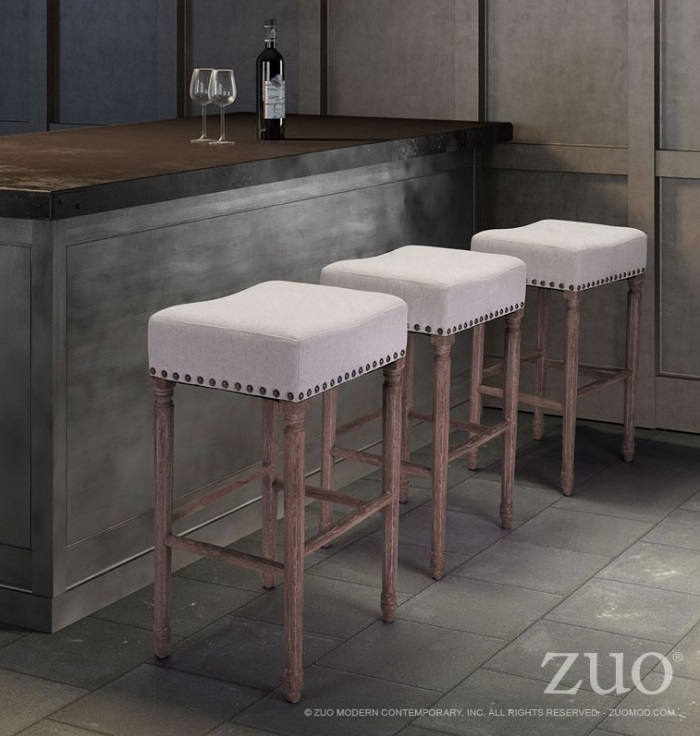 ZUO ANAHEIM BEIGE COUNTER CHAIR
