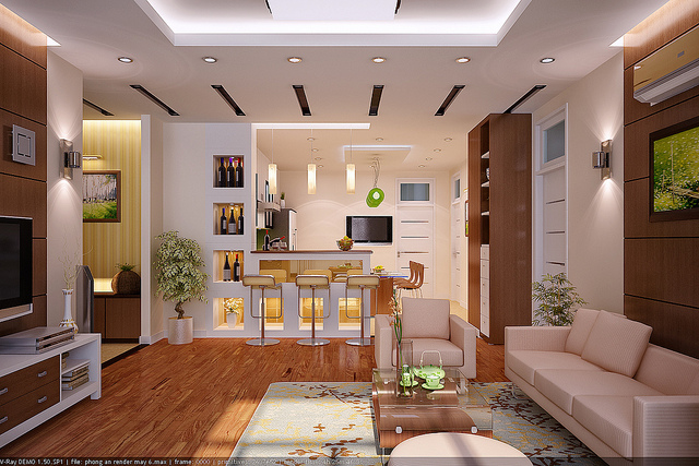 Living room design rendering