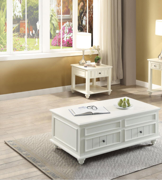 Natesa White Washed Lift Top Storage Coffee Table